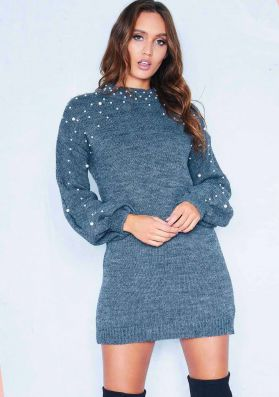 Lucie Charcoal Pearl Puff Sleeve Jumper Dress