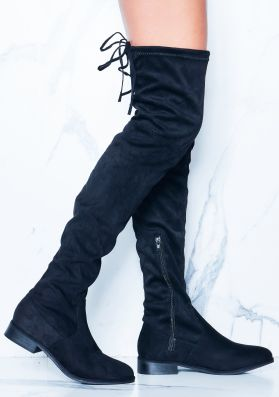 Maggie Black Faux Suede Flat Thigh High Boots