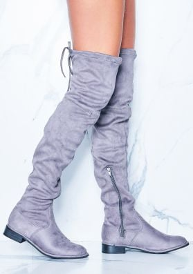 Maggie Grey Faux Suede Flat Thigh High Boots