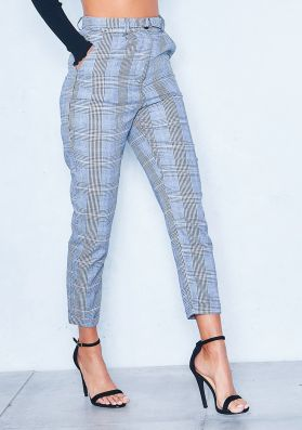 Colette Grey Check High Waist Casual Trousers