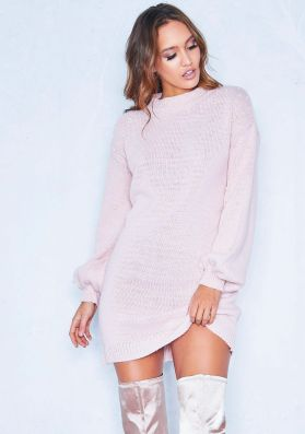 Lucie Pink Pearl Puff Sleeve Jumper Dress
