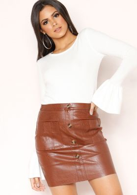 Rita Brown Faux Leather Button Up Mini Skirt