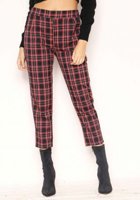 Georgie Red Check Trousers