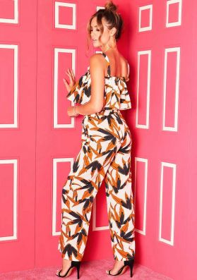 Abi White Floral Paperbag Tie Trousers
