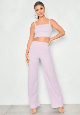 Asher Lilac Crop Top & Trouser Co-Ord Set