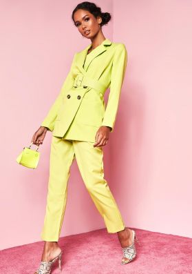 Shay Lime Green High Waist Belted Trousers