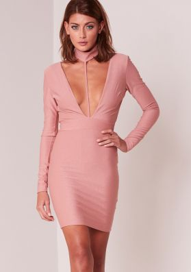 Amy Dusty Pink Plunge Collar Detail Bodycon Dress