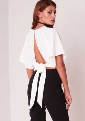 Bethany White Batwing Cropped Tie Back Top