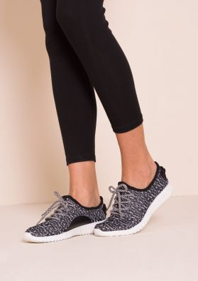 Lara Black And White Fabric Ribbed Sole Trainers