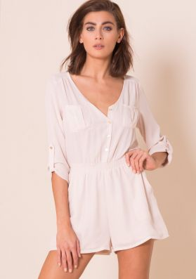 Sadie Nude Long Sleeved Button Up Playsuit
