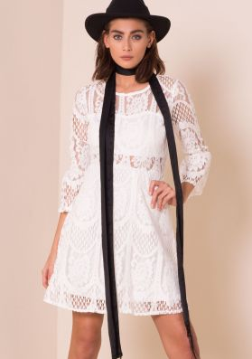 Isobella White Bell Sleeve Lace Skater Dress