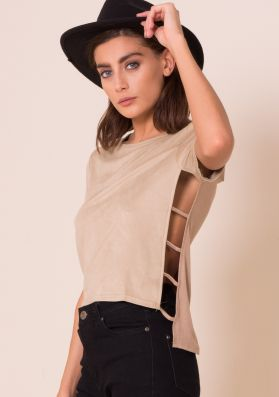 Ivy Stone Suede Caged Side Detail Top