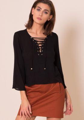 Gloria Black Lace Up Bell Sleeve Blouse