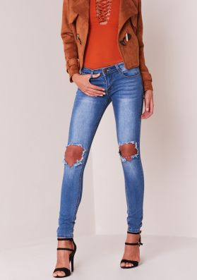 Iris Rip Knee Mid Rise Denim  Jean