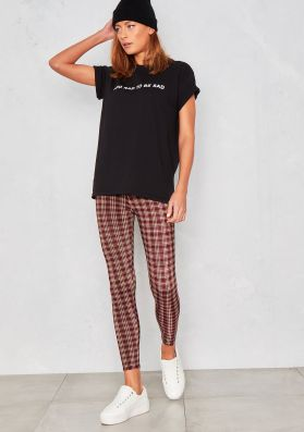 Caroline Wine Checked Leggings
