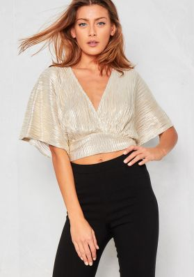 Deysi Gold Batwing Tie Back Crop Top
