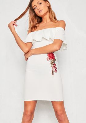 Chanelle White Bardot Floral Embroidered Dress