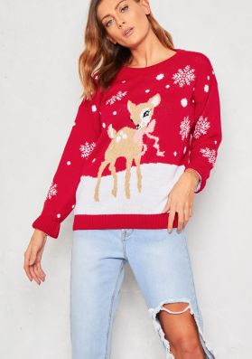 Red Bambi Knitted Christmas Jumper
