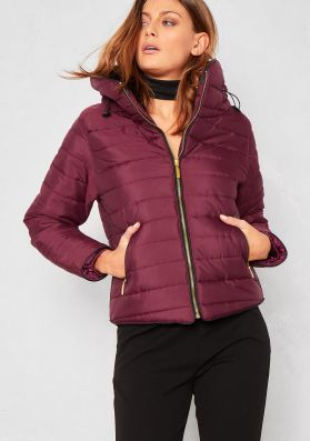 Olivia Wine Quilted Puffer Coat