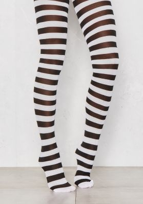Buffy Black And White Striped Tights
