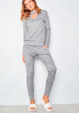 Lyrah Marl Grey Brushed Soft Cut Out Tracksuit