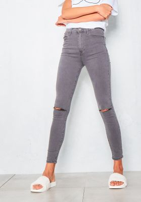 Fran Washed Grey Ripped Knee High Waist Skinny Jeans