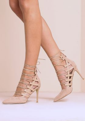 Taylor Beige Suede Lace Up Caged Heels