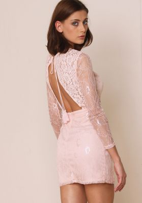 Claira Pink Lace Panel Backless Bodycon Dress