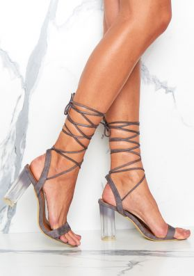 Mikalaya Grey Suede Open Toe Lace Up Heels
