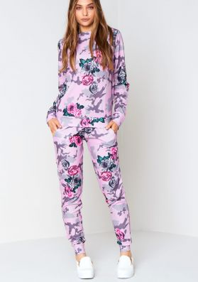 Ari Pink Floral Camouflage Co-Ord Loungewear