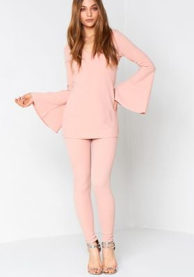 Posy Nude Bell Sleeve Top and Trouser Co-Ord