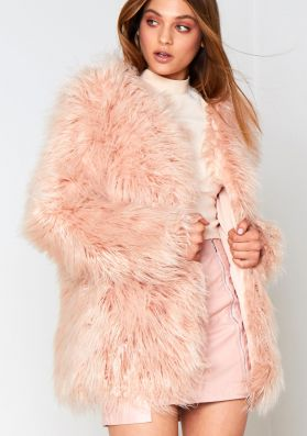 Nude Shaggy Faux Fur Coat