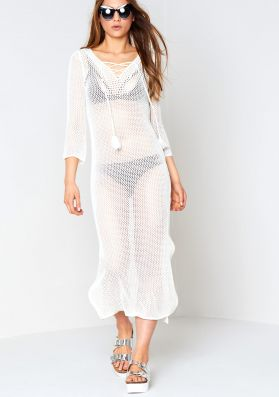 Olly White Lace Up Loose Knit Midi Dress