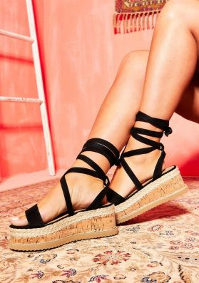 Jolene Black Suede Tie Up Espadrille Flatform Sandals