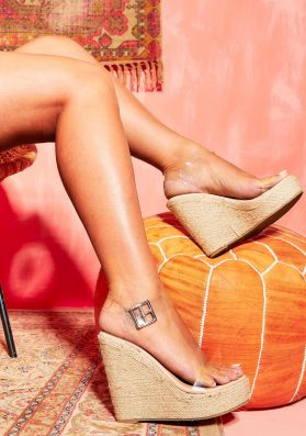 Liberty Nude Woven Perspex Wedges