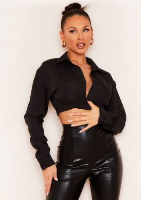 Dolly Black Plunge Front Cropped Shirt