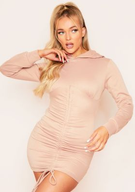 Hayley Camel Ruched Front Hooded Jumper Mini Dress