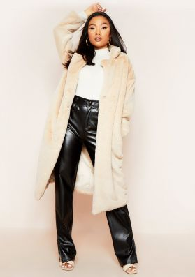 Nia Beige Oversized Faux Fur Maxi Coat