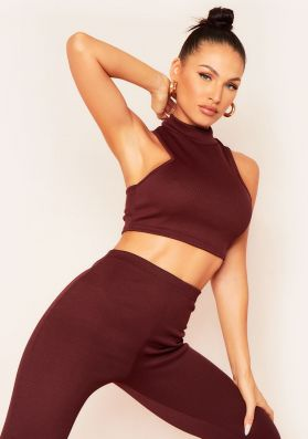 Molli Chocolate Thick Bandage Rib Extreme Racer Crop Top