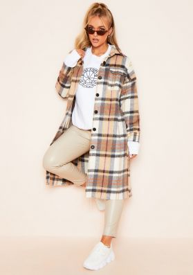 Faye Brown Checked Longline Shacket