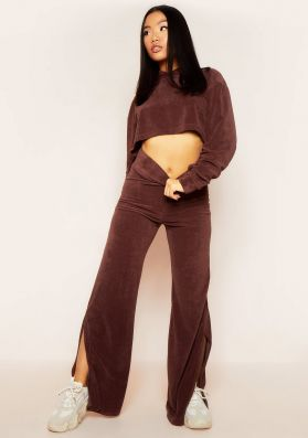 Belle Chocolate Velour Split Hem Joggers