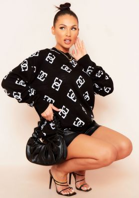 Adrianna Black Logo Oversized Knitted Jumper