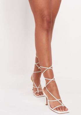 Maya White Lace Up Square Toe Strappy Heels