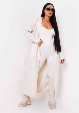Malin Stone Vinyl Faux Leather Belted Button Through Trench Coat