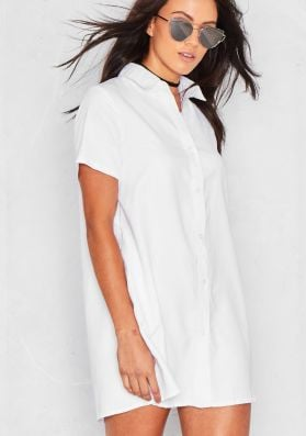 Dolcie White Button Up Shirt Dress