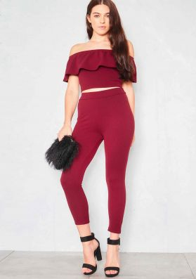 Fronie Wine Frill Top And Trouser Co-Ord
