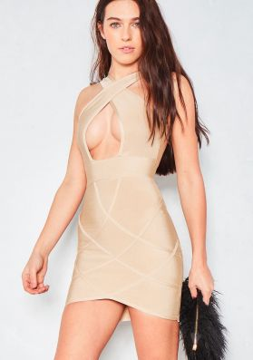Caleigh Beige Cut Out Bandage Dress