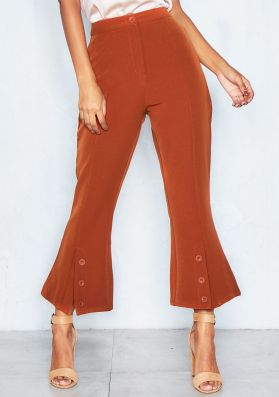 Lupita Rust Split Front Flare Trousers