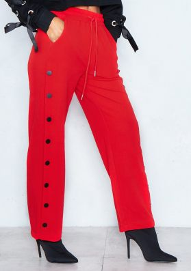 Chantelle Red Button Detail Trousers