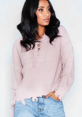 Kathi Pink Lace Front Frayed Knitted Jumper